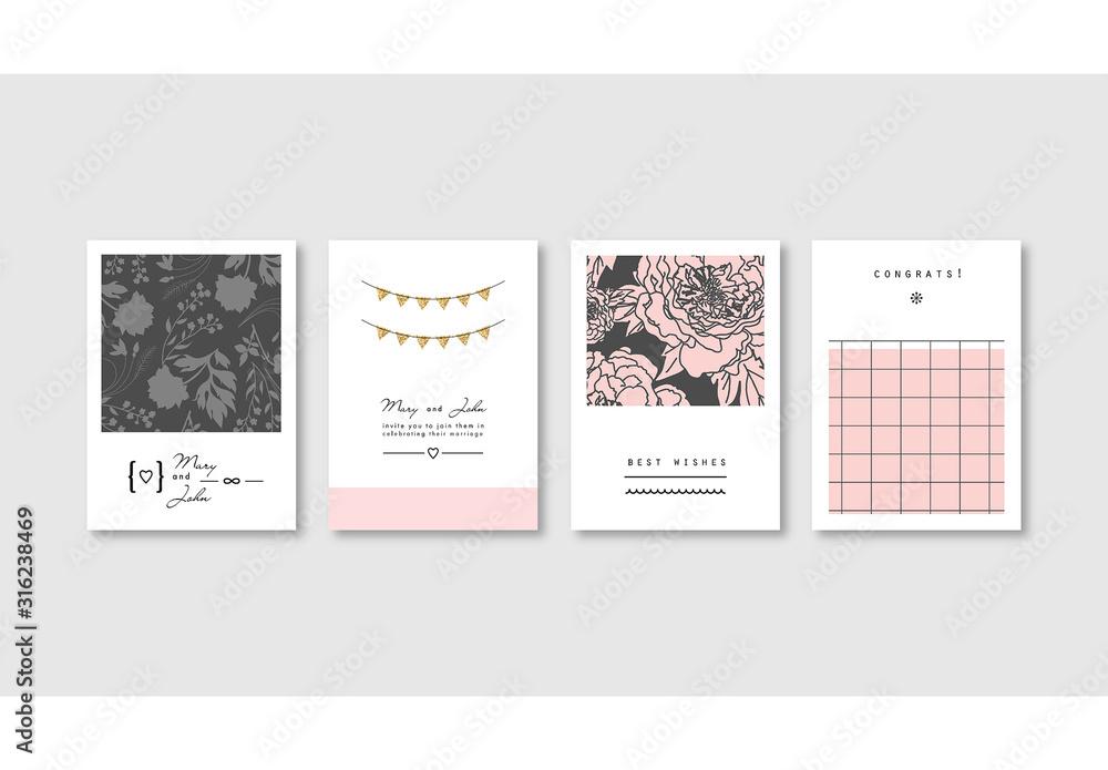 Fototapeta Set of Elegant Pink Card Layouts