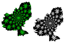 Mures County (Administrative Divisions Of Romania, Centru Development Region) Map Is Designed Cannabis Leaf Green And Black, Mures Map Made Of Marijuana (marihuana,THC) Foliage