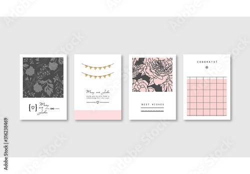 Fototapeta Set of Elegant Pink Card Layouts obraz