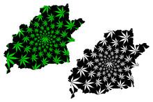 Sibiu County (Administrative Divisions Of Romania, Centru Development Region) Map Is Designed Cannabis Leaf Green And Black, Sibiu Map Made Of Marijuana (marihuana,THC) Foliage