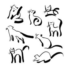 Set Of Black Outline Line Cats...