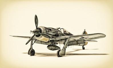 stari lovački avion izoliran na bijeloj pozadini