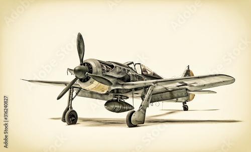 stary-samolot-mysliwski-na-bialym-tle
