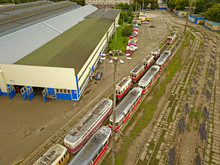 Aeiral Drone View. Trams On Th...