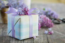 Lilacs Around Wrapped Gift