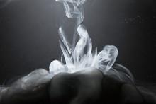 Creative, Abstract White Liquid Smoke Formation