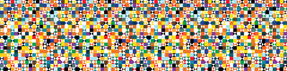 Funky geometric mosaic vector seamless border pattern. Hand drawn playfull bi...