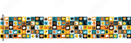 Valokuva Funkyapple fruit mosaic vector seamless border pattern