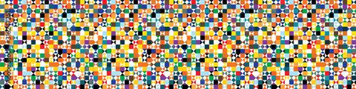 Fényképezés Funky geometric mosaic vector seamless border pattern