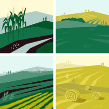 Vector Illustrations With Farm Land, Corn Or Crop Field, Hayfield And Agricultural Building. Set Of Agri Backgrounds. Design With Landscape For Agriculture Or Farming. Backdrops For Flyer, Banner, Web