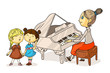 Little girls singing song and teacher plating piano isolated on white. Woman and kids. Cartoon chorus people characters. Music education. Vocal and musician instrument. Vector flat illustration.