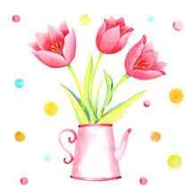 Pink Tulips In A Pink Tea Can,...