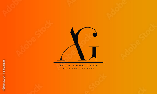 AG ,GA ,A ,G  Letter Logo Design with Creative Modern Trendy Typography Canvas Print