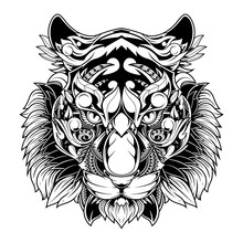 Tiger Head Zentangle Stylized, Vector, Illustration, Pattern, Freehand Pencil, Hand Drawn. Zen Art. Line Art.