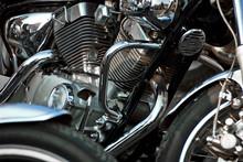 Motorcycle Engine Closeup. Chrome Engine Parts. Shiny Smooth Details.