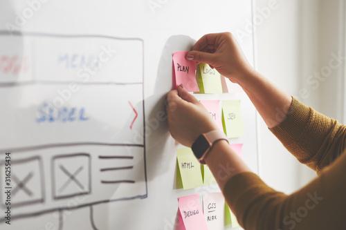 Photo Female web designer planning website ux app development on whiteboard