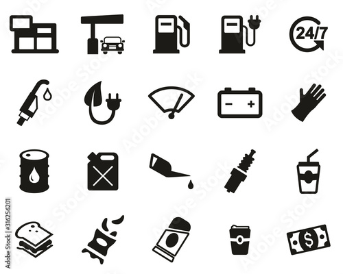 Fotografie, Obraz Gas Station Or Gas Pump Icons Black & White Set Big