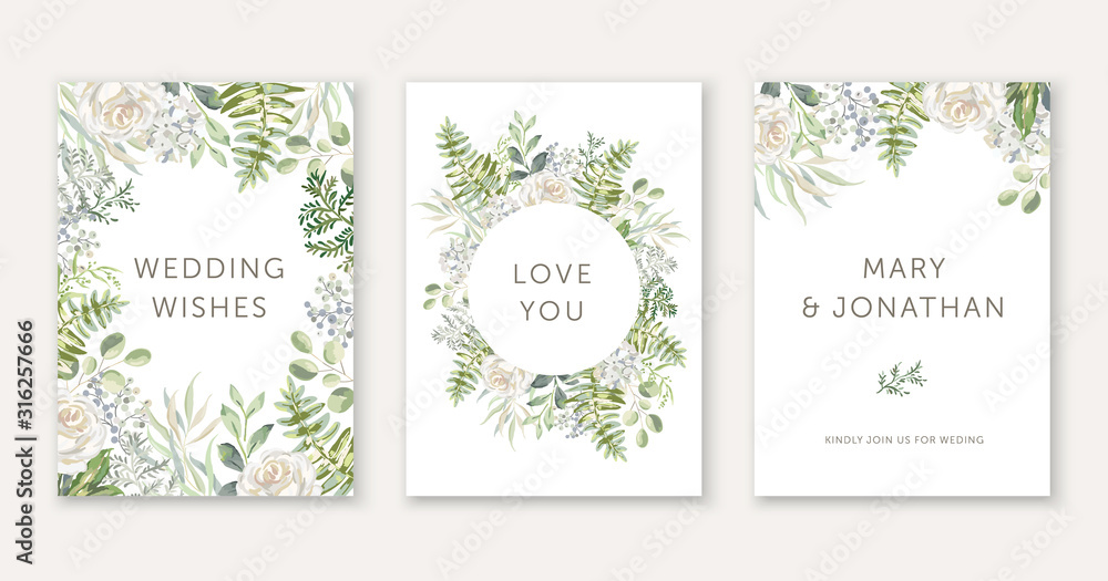 Fototapeta Wedding cards design. White rose flowers, green fern leaves bouquets, frames. Vector illustration. Floral arrangements. Invitation template background
