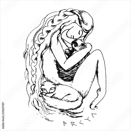 Fotomural Hand drawn Illustration of Freya Norse goddess of love and beauty hugs her two cats