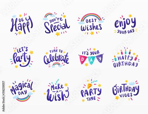 Variety of happy birthday set Canvas Print