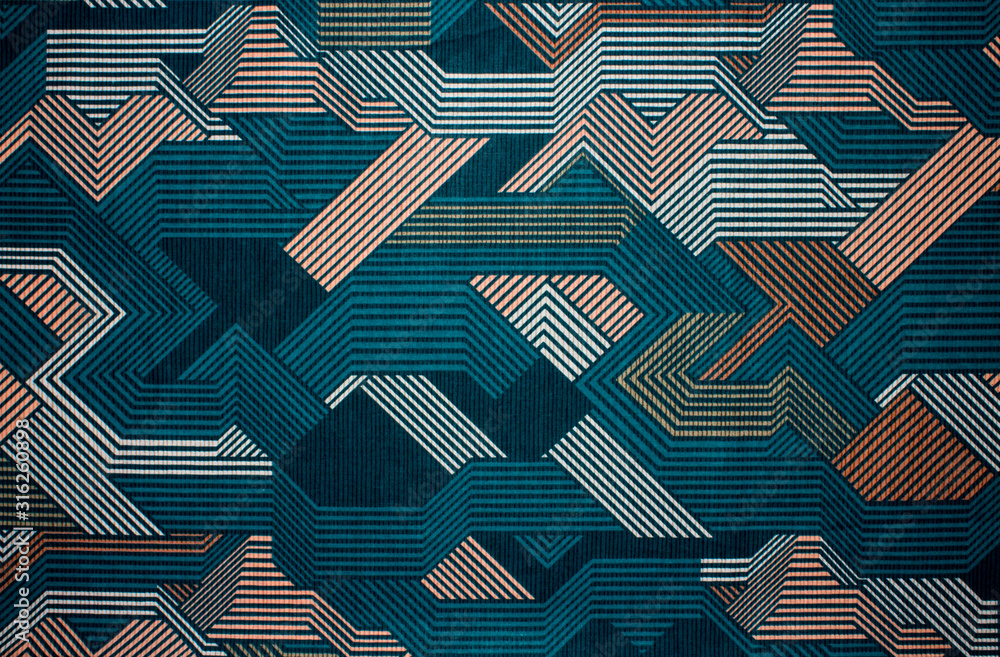 Fototapeta Fabric texture with abstract lines.Fabric background with multi-colored lines.Abstract background.
