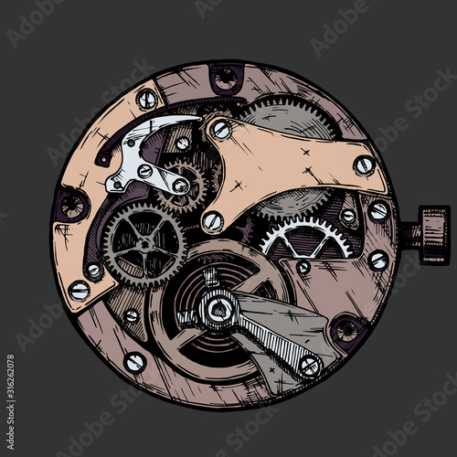 Carta da parati Vector illustration of clockwork