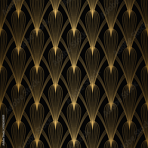 Tapeta czarna  art-deco-pattern-seamless-white-and-gold-background