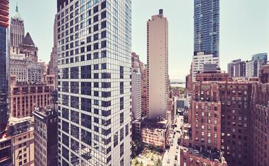 Fototapeta Nowy York Retro color toned view of Manhattan architecture, New York City, USA.
