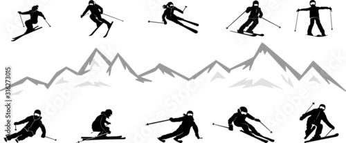 Fotomural Ski Driver Winter Sport Vector Silhouette