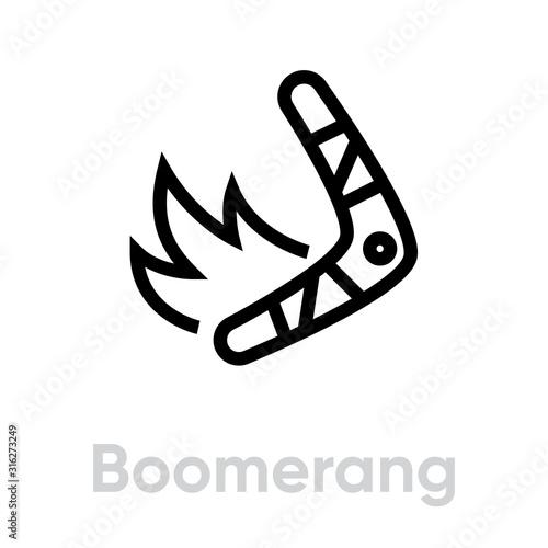 Boomerang on Fire vector icon. Editable line Wallpaper Mural