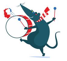 Funny Rat Or Mouse A Drummer I...