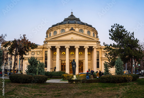 Detail view of the Romanian Athenaeum or Ateneul Roman, at evening light, a land Canvas Print