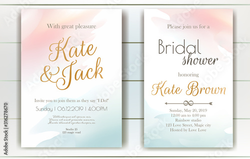 Canvas Print Set of vector delicate invitations with abstract background for wedding, marriag