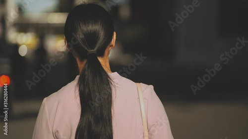 A brunet lady with long pony tail in sunny day backside on a blured background Canvas Print