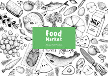 Food Frame Sketch. Vector Illu...