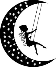 Fairy Moon On The Swing With S...