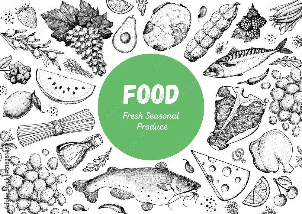Fototapeta Food sketch. Vector illustration. Vegetables, fruits, meat hand drawn. Organic food set. Good nutrition pattern. Hand drawn food design elements.