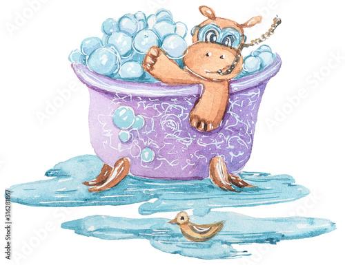 akwarela-recznie-malowane-hipopotama