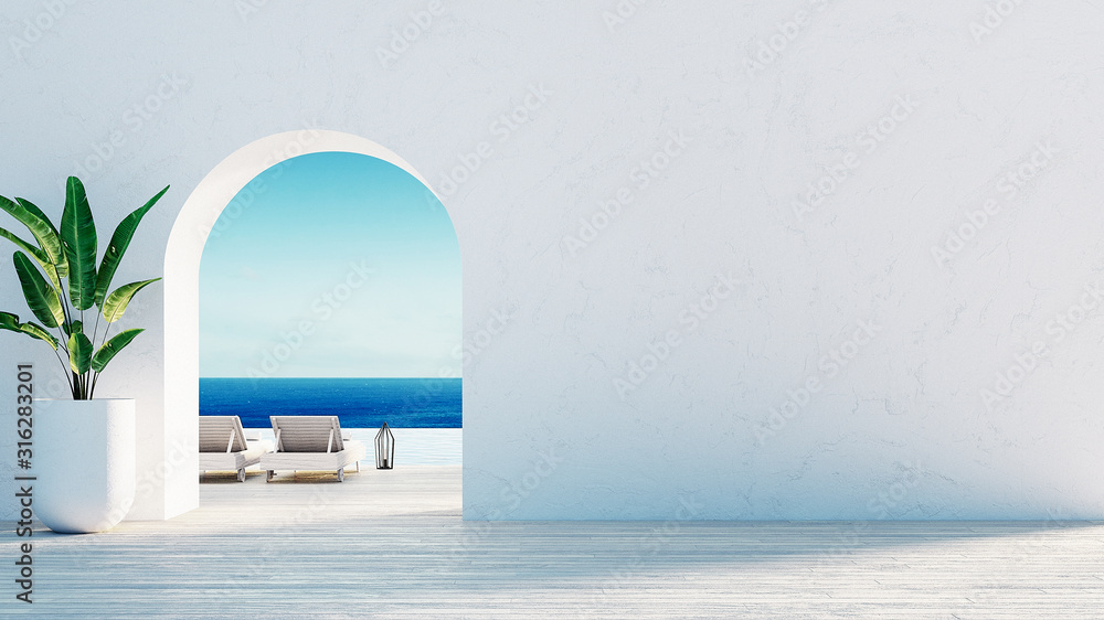 Fototapeta  Gate to the sea view & Beach living - Santorini island style / 3D rendering