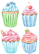 Watercolor Set With Cupcakes. ...