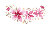Delicate Watercolor Pink And Brown Floral Bouquet. Colorful Painting Floral Composition With Tender Leaves And Flowers For Invitation, Wedding Or Greeting Cards Design, Sticker, Banner Decor