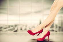 Woman Legs With Red Heels And ...