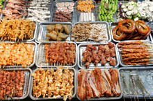 Traditional Vietnamese Street Food. Grilled Meat And Seafood. Sapa In Lao Cai Province In Northwest Vietnam