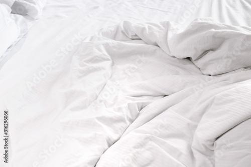 Valokuvatapetti White delicate soft background of fabric or bedding sheet
