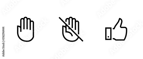 Fototapeta Hand, Palm Don't Touch, Thumb Up icons