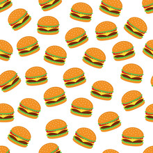 Burger Seamless Pattern Background Vector Design Isolated On White Background