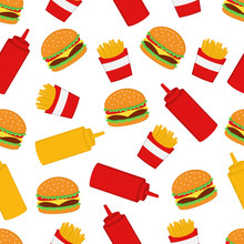 Burger And French Fries Seamless Pattern Background Vector Design