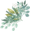 Leinwanddruck Bild - watercolor foliage greenery branch abstract floral green blue eucalyptus