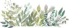 Watercolor Foliage Greenery Br...