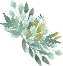 Watercolor Foliage Greenery Br...